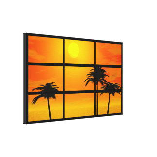 Impressão Em Canvas Por do sol da palma