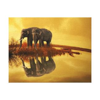 Impressão Em Canvas Por do sol dos elefantes