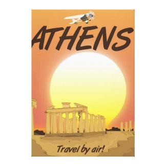 """Impressão Em Canvas Por do sol dourado pelo ar de Atenas """"viagem"""""""