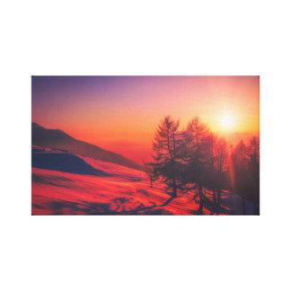 Impressão Em Canvas Por do sol italiano da montanha - vermelho vívido