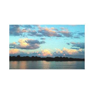 Impressão Em Canvas Por do sol no rio Mississípi