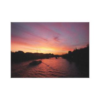 Impressão Em Canvas Por do sol no rio Seine