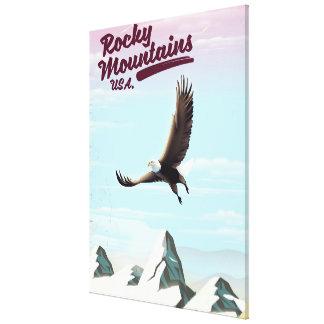 Impressão Em Canvas Poster das viagens vintage dos EUA das montanhas