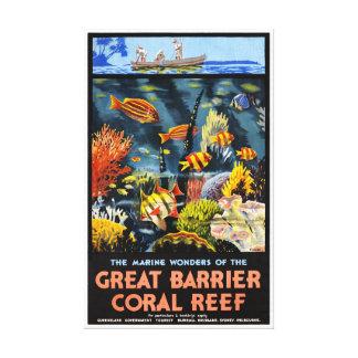 Impressão Em Canvas Poster vintage do recife de corais da barreira de