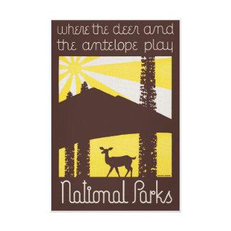 Impressão Em Canvas Poster vintage dos parques nacionais dos EUA