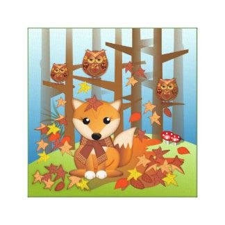 Impressão Em Canvas Raposa bonito e coruja no outono