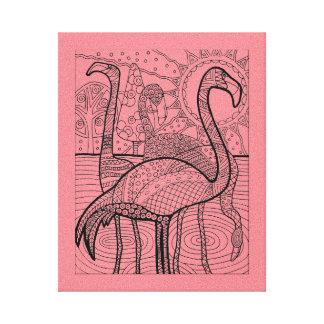 Impressão Em Canvas Rebanho do flamingo
