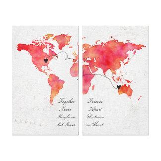 Impressão Em Canvas Relação da grande distância do mapa do mundo da
