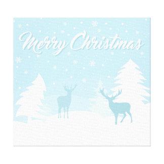 Impressão Em Canvas Rena do Feliz Natal em uma floresta nevado
