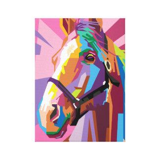 Impressão Em Canvas Retrato colorido do cavalo do pop art