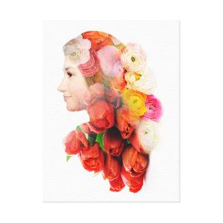 Impressão Em Canvas Retrato floral