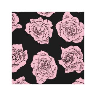 Impressão Em Canvas Rosas cor-de-rosa no fundo preto