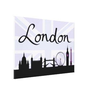 Impressão Em Canvas Roteiro de Londres no céu de Union Jack & locais