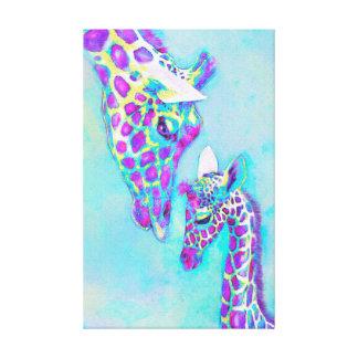 Impressão Em Canvas roxo loving e aqua dos girafas