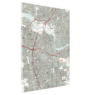 Impressão Em Canvas Sacramento Califórnia Mapa (1992)