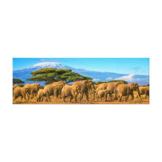 Impressão Em Canvas Safari Keny dos elefantes africanos de Kilimanjaro