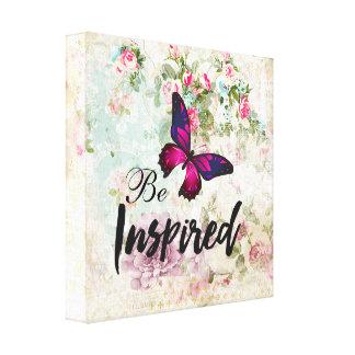 Impressão Em Canvas Seja citações inspiradas & colagem gasto da