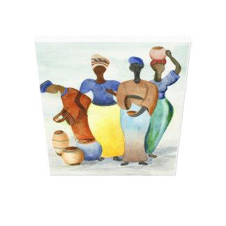 Impressão Em Canvas Senhoras e potes de argila africanos