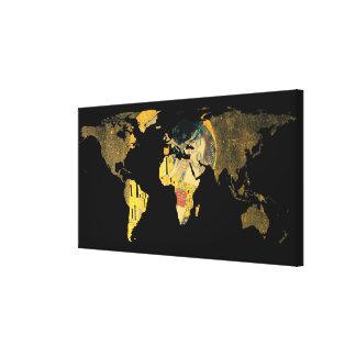 Impressão Em Canvas Silhueta do mapa do mundo - o beijo Gustavo Klimt