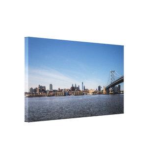Impressão Em Canvas Skyline de Philadelphfia e ponte de Ben Franklin