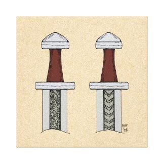 Impressão Em Canvas Soldadura do teste padrão da espada de Viking