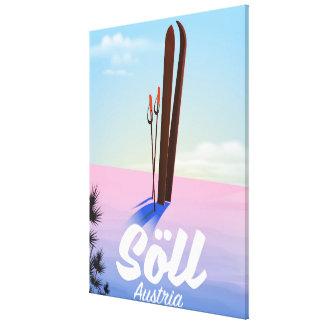 Impressão Em Canvas Söll, poster de viagens do esqui de Áustria