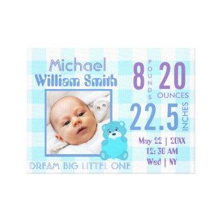 Impressão Em Canvas Stats azul do bebé bonito com foto