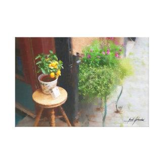 Impressão Em Canvas Tamborete e laranjas