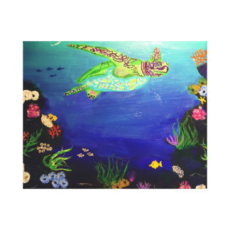 Impressão Em Canvas Tartaruga de mar no recife de corais