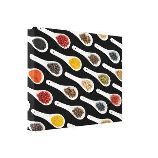 Impressão Em Canvas Tempere colheres no preto, arte da sala de jantar