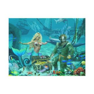 Impressão Em Canvas Tesouro do recife de corais da sereia