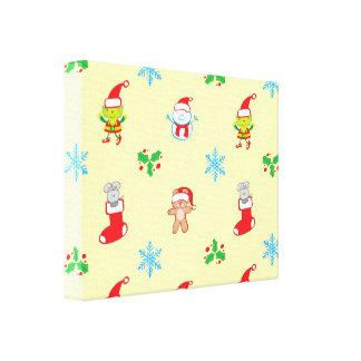 Impressão Em Canvas Teste padrão do Natal do rato, do boneco de neve,
