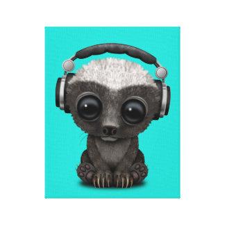 Impressão Em Canvas Texugo de mel bonito DJ do bebê que veste fones de