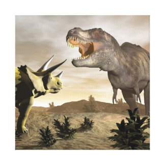 Impressão Em Canvas Tiranossauro que ruje no triceratops - 3D rendem