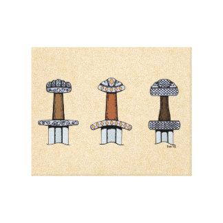 Impressão Em Canvas Três empunhaduras da espada de Viking