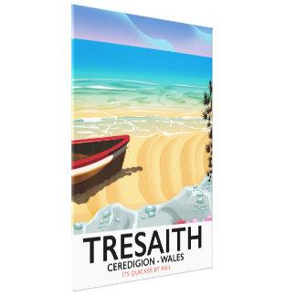 Impressão Em Canvas Tresaith, poster do beira-mar de Wales da praia de