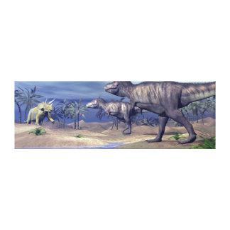 Impressão Em Canvas Triceratops de ataque do tiranossauro - 3D rendem