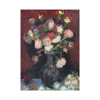 Impressão Em Canvas vaso de Van Gogh com ásteres e os tipos de flor