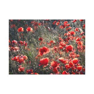 Impressão Em Canvas Verão Sun, arte vermelha da parede do Wildflower