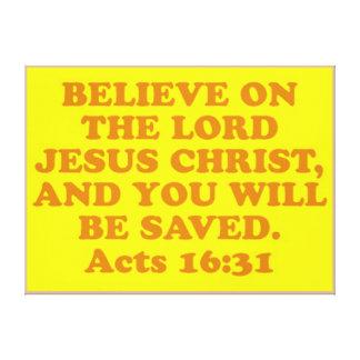 Impressão Em Canvas Verso da bíblia do 16:31 dos atos.