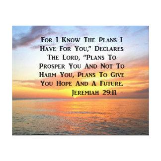 IMPRESSÃO EM CANVAS VERSO SERENO DA BÍBLIA DO 29:11 DE JEREMIAH DO