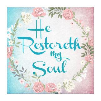 Impressão Em Canvas Vintage ele Restoreth meu verso da bíblia da alma