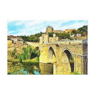 Impressão Em Canvas Vista da ponte de St Martin em Toledo.