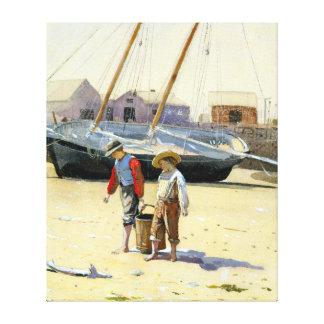 Impressão Em Canvas Winslow Homer uma cesta dos moluscos