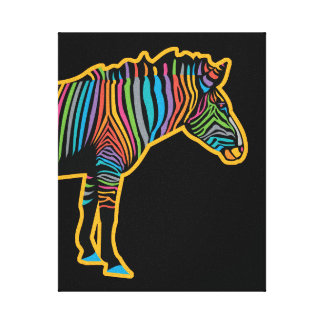 Impressão Em Canvas Zebra colorida do arco-íris