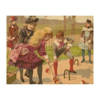 """Impressão Em Madeira 14"""""""" crianças do vintage x11 que jogam a arte de"""