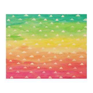 Impressão Em Madeira A aguarela colorida listra os triângulos brancos