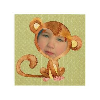 Impressão Em Madeira A cara da sua criança em um terno de macaco