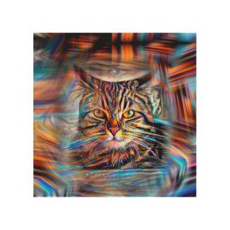 Impressão Em Madeira À deriva no gato abstrato da revolução das cores