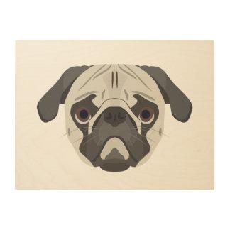 Impressão Em Madeira A ilustração persegue o Pug da cara